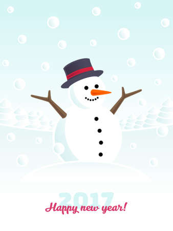 carrot tree: Happy new year snowman Illustration
