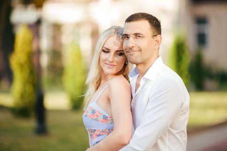 Smiling couple in love outdoors, lviv. summer Foto de archivo