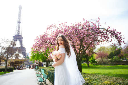 bride in a luxurious wedding dress in Paris Banque d'images