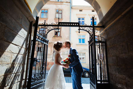 brides walk around the city outdoors, wedding.