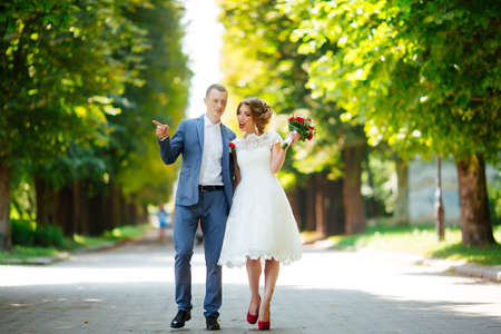 Wedding. Young couple, recently married, holding hands Banque d'images
