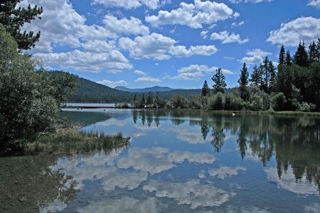 nevada: Cloud Reflection in Fallen Leaf lake near Lake Tahoe, USA