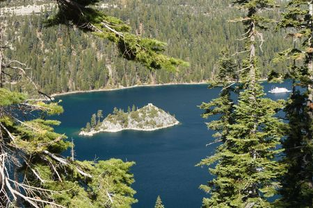 fannette: Fannette Island in Emerald Bay at Lake Tahoe USA, with a Paddlewheel Boat approaching. Stock Photo