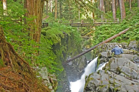 sol duc: sitting at the top of Sol Duc Falls in Olympic National Park,  USA