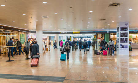 Brussels, Belgium, 28th March 2019 Brussels airport, people are checking in for their flights