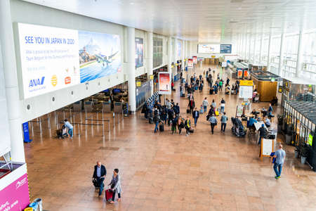 Brussels, Belgium, May 2019 Brussels airport, people checking in for their flights, departures area, top view