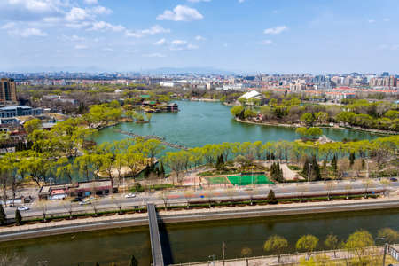 Aerial view of Langton Lake and Park area part of Tiejiangying Residential District, Beijing 스톡 콘텐츠