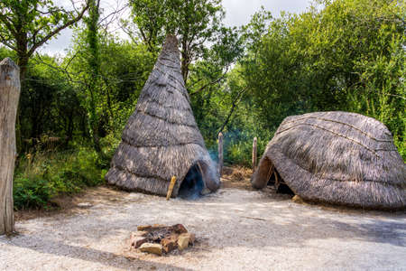 Old thatch, straw Celtic cottage with camp fire, concept of early age human settlement, green forest background