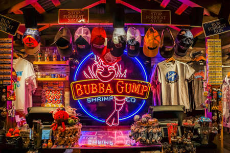 Hong Kong, March 2013: Bubba Gump Shop and restaurant sign, brand from classic famous movie Forrest Gump 写真素材 - 137811635