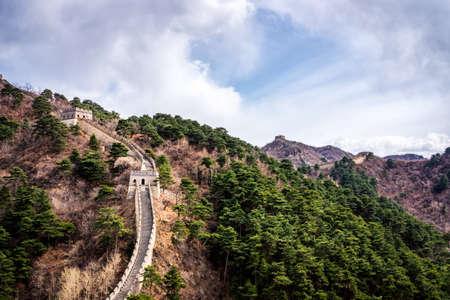 Great Wall of China, Mutianyu section near Beijing, panoramic view, autumn Stok Fotoğraf