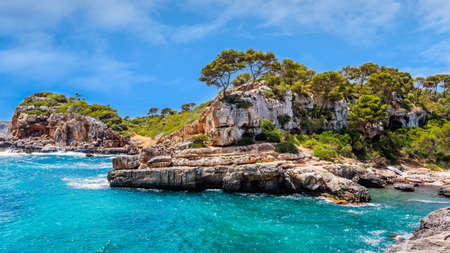 Panorama of beautiful beach and bay with cliffs, trees and turquoise sea water, Cala sAlmunia, Santanyi, Mallorca island, Spain