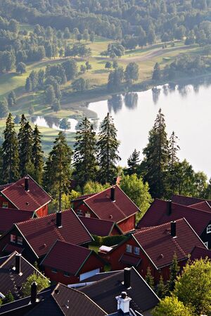 scandinavian landscape: Foreground of dark red house rooftops of a small Scandinavian town and green trees on the background of a scenic lake and misty hills and forest landscape in Norway.