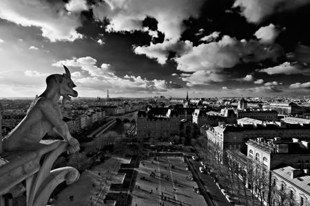 gargouille: panorama noir et blanc de Paris, capitale de la France, sous contrastant ciel sombre et les nuages ??blancs dans la lumi�re du soleil, tir� de la cath�drale Notre Dame avec une gargouille de pierre au premier plan