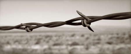 tiran: Prikkeldraad tegen een grimmige zuidwestelijke achtergrond