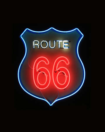rt: Neon sign, historical Rt 66 Stock Photo