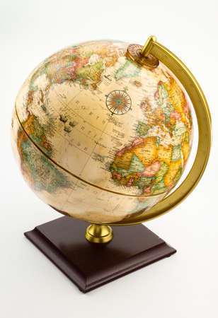 A globe showing the continents of North America, South America, Europe and Africa