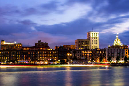 River Street at Twilight in Savannah, Georgia  Stock Photo - 16905065