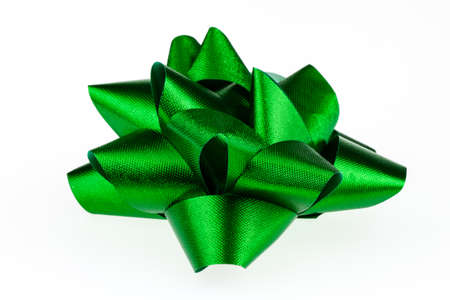 Green Christmas bow islolated on a white background