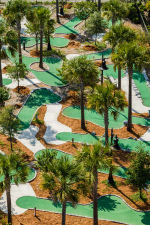 An aerial view of the Neptune Park miniture golf course located on St. Simons Island, Georgia.