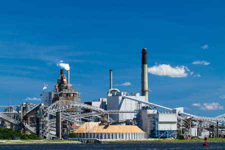 A large paper mill located on the Amelia River in Fernandina Beach, Florida