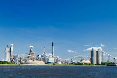 A large paper mill located on the Amelia River in Fernandina Beach, Florida.