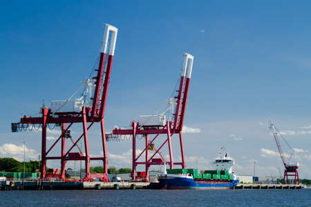 A commercial container ship in port in Fernandina Beach, Florida.
