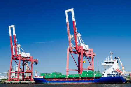 sunshine state: A commercial container ship in port in Fernandina Beach, Florida.
