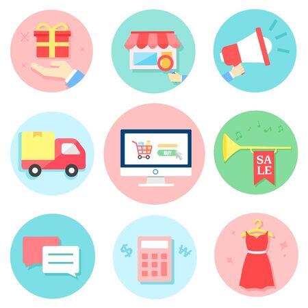clothes rack: Shopping Icon set Illustration