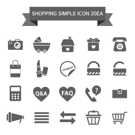 refunds: Shopping  Icon set Illustration