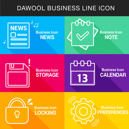 penetration: Business Line Icon Set Illustration