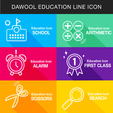 classes schedule: Education line icon Set