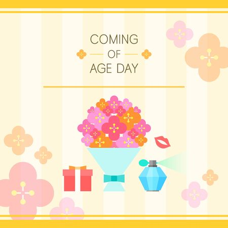 of age: Coming of age day illustration