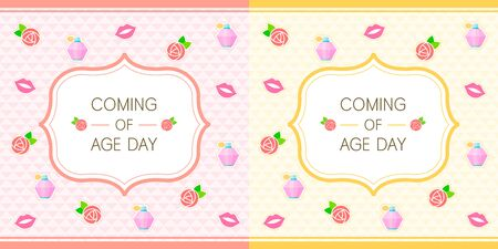 flower age: Coming of age day illustration