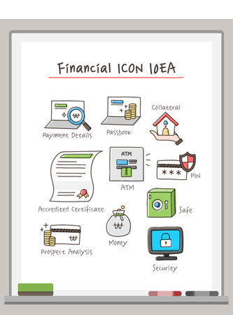 Financial Drawing Icon Set