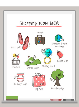markerboard: Shopping Drawing Icon Set