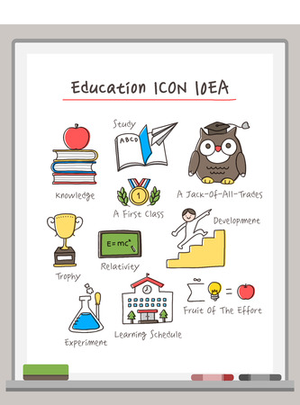 markerboard: Education Drawing Icon Set Illustration