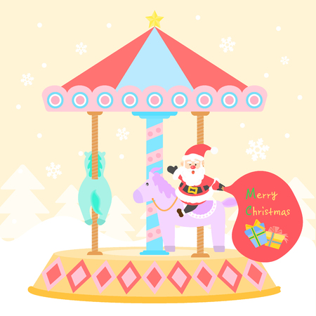 trundle: Santa riding a merry go round templet