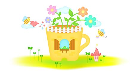Bee flowerpot to live in templet