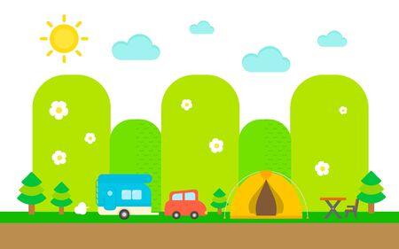 illust: Enjoy camping flat design