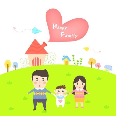 illust: Happy family templet
