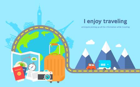 I enjoy traveling flat design templet Ilustração