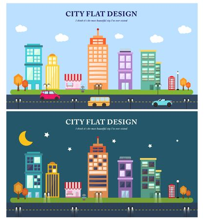 illust: Day and night in the city templet Illustration