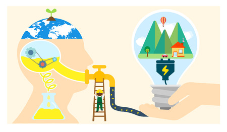 energy supply: Energy Supply flat design Illustration