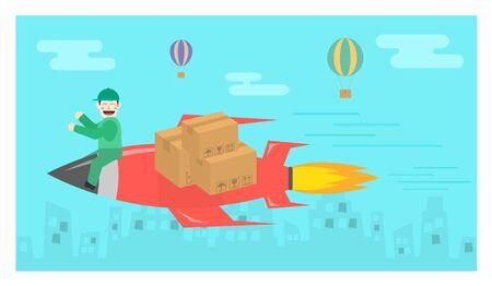 illust: Quick rocket delivery flat design