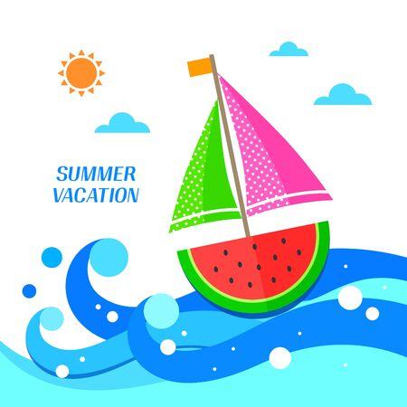 watermelon boat: summer illustration