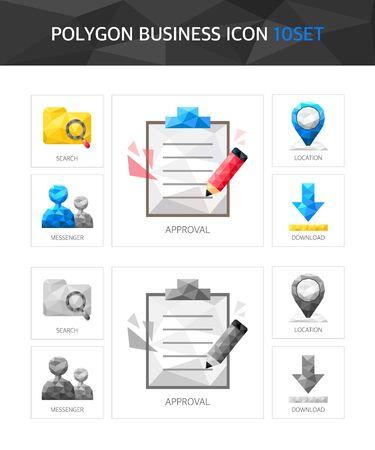 illust: Business polygon icon package Illustration