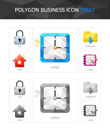 groupware: Empresas pol�gono paquete de iconos Vectores