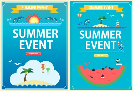 pop up: Summer Vacation event pop up Illustration