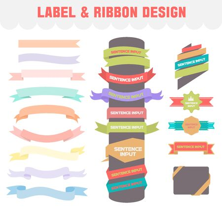 Label and ribbon Designvector icon set