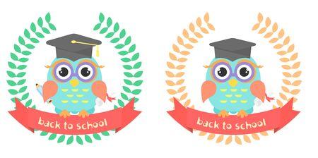 graduation insignia with owl Illustration